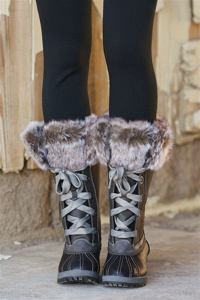 LONDON FOG Water Resistant Boots - Charcoal/Black from Closet Candy Boutique #fashion #shop