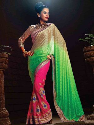 Green Pink Party Wear Chiffon Saree With Embroidery Work & Blouse Sarees on Shimply.com