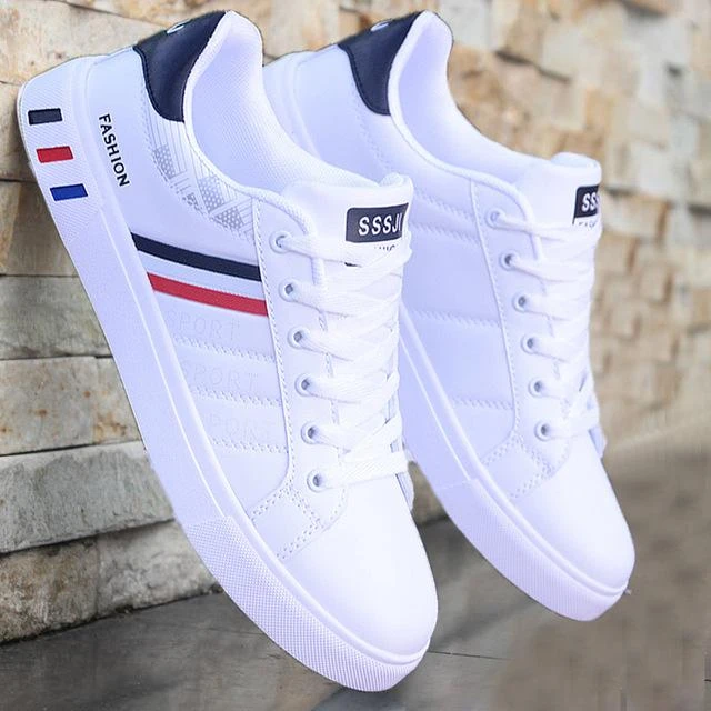 Hot Fashion Men Leather Comfortable Lace up Breathable Sneakers