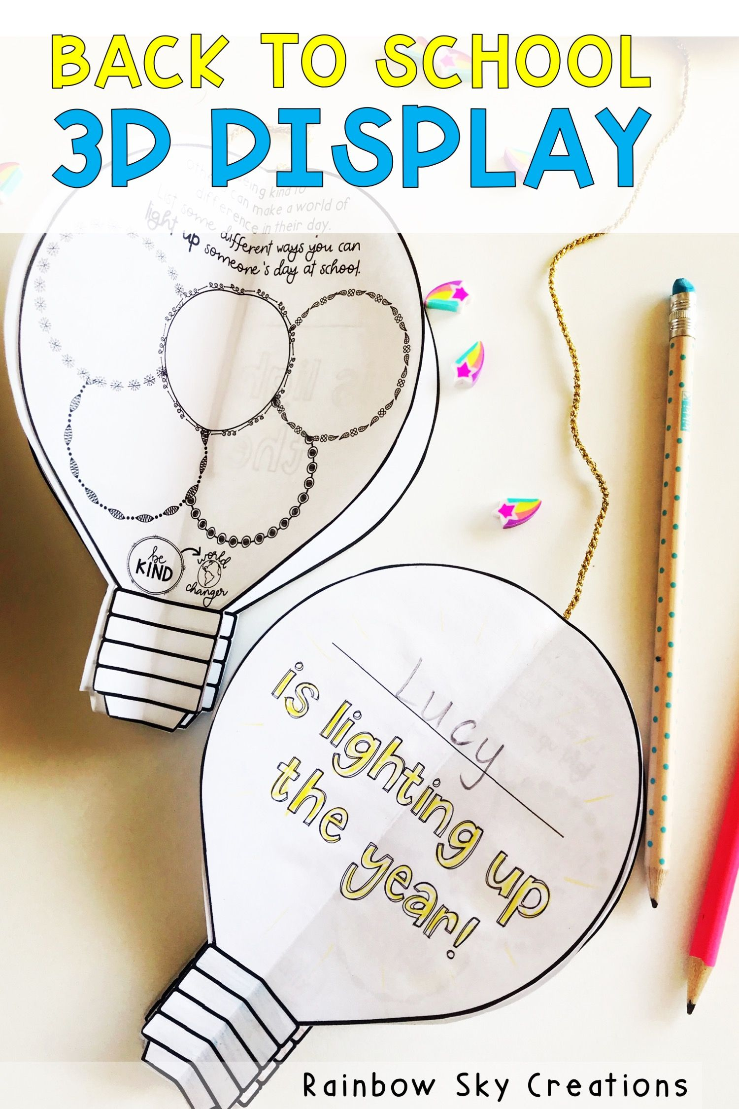 This 3D light bulb display is perfect to use at the start of a new academic or c…