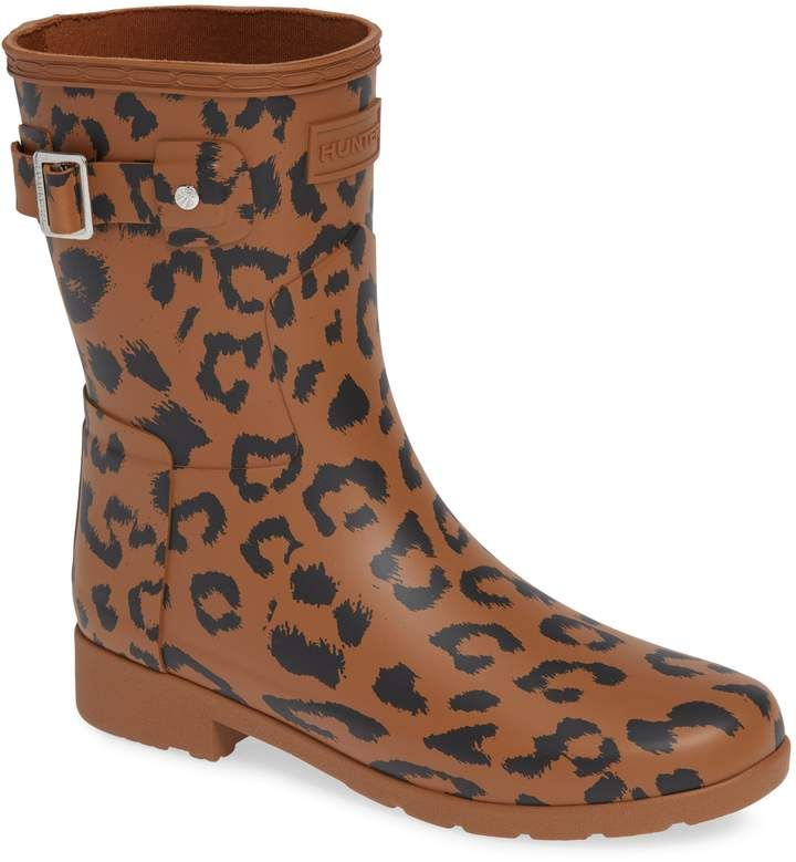 8a15053a9fc4 Hunter Leopard Print Refined Short Rain Boot