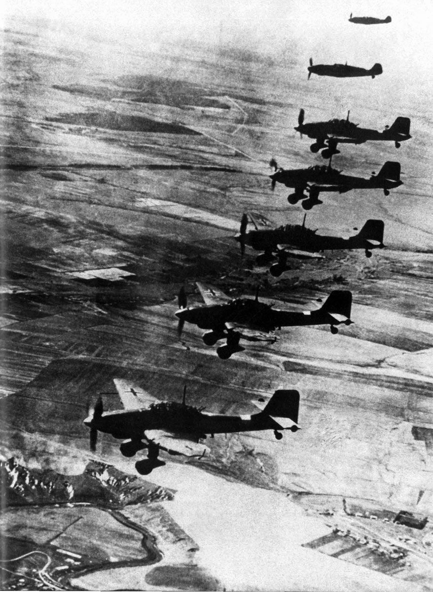 Operation Barbarossa, June 1941 - Ju 87 Stukas with Bf 109 escort in the early stages of the German invasion of Russia.