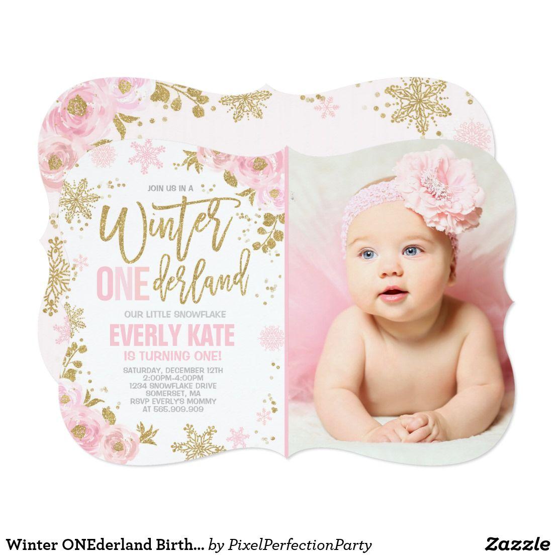 Winter ONEderland Birthday Invitation Pink Gold