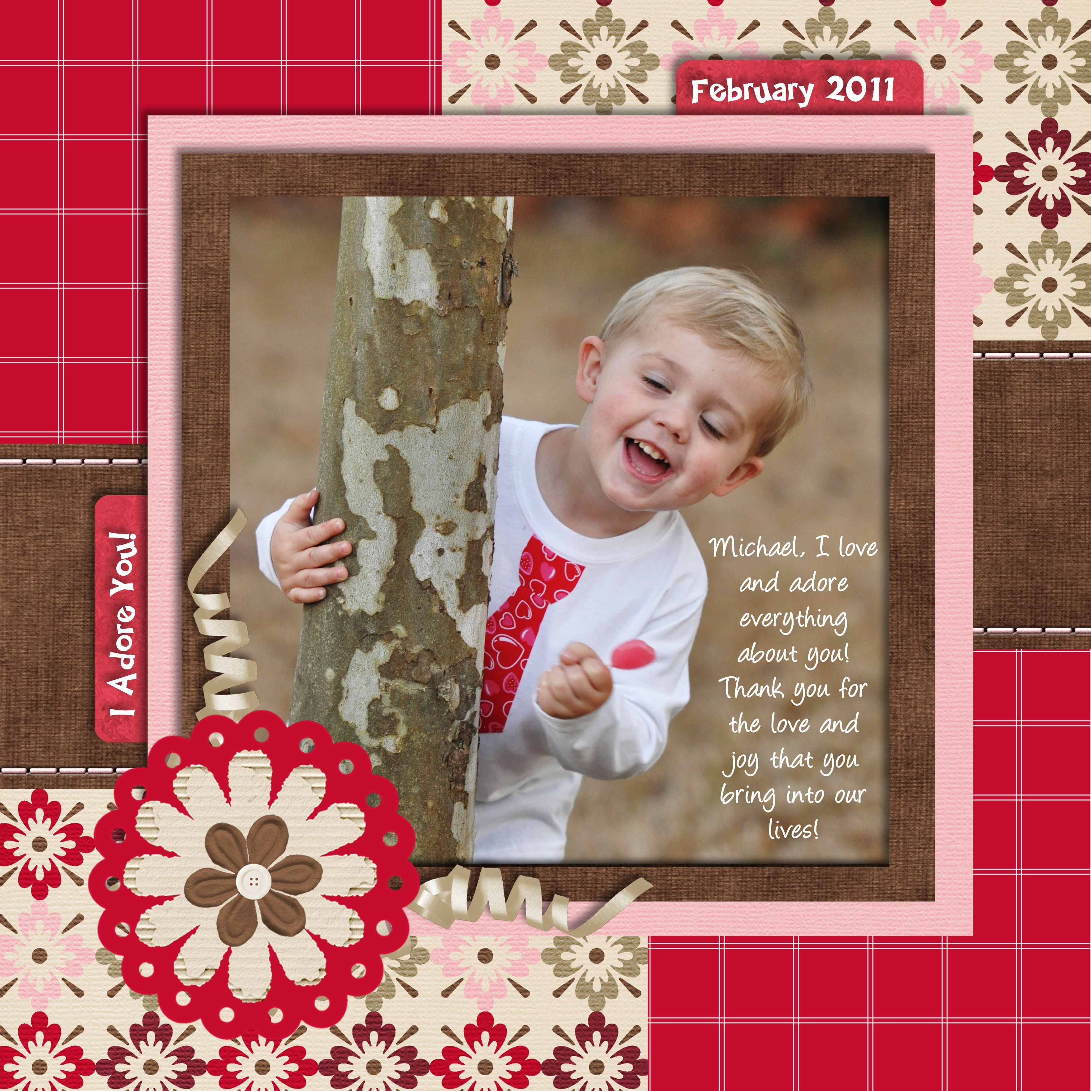 How to scrapbook 8x8 layouts - Boy Scrapbook Layout Page Using Red White Pink And Brown Love The Colors