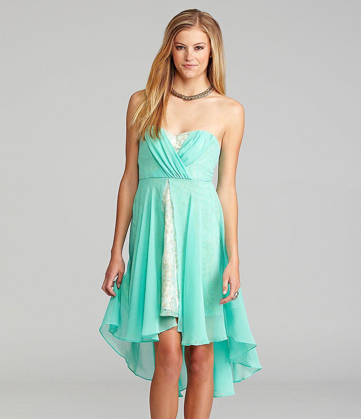 GB Strapless Lace Hem Dress | Dillards.com | Wedding Ideas ...