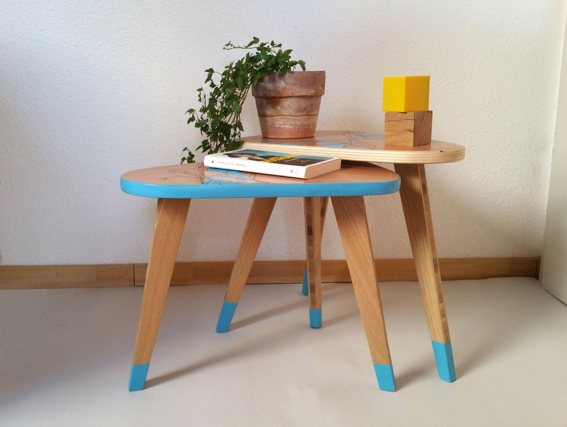 Duo de tables basses tripodes forme vintage en bois : Meubles et ...