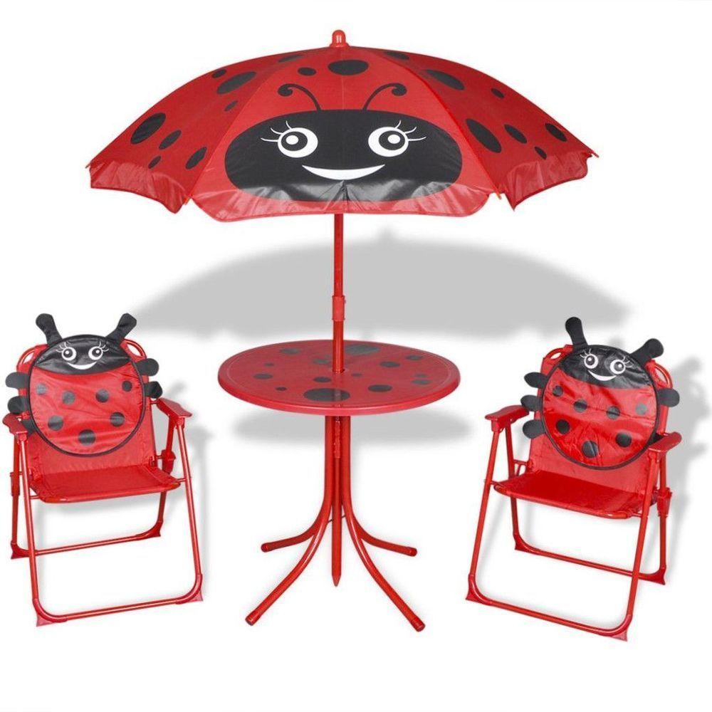Kids Garden Furniture Set Childrens Outdoor Patio Folding Chairs Table Umbrella