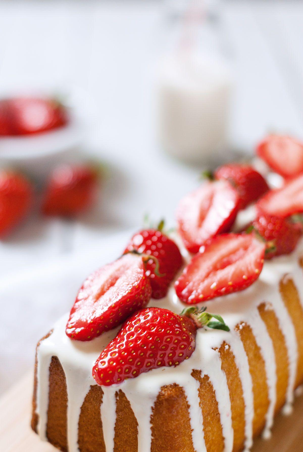 Gateau a la vanille fraise