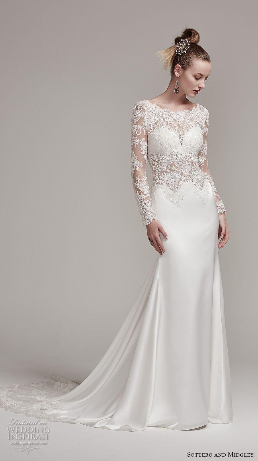 Satin Long Sleeve Sheath Wedding Dresses