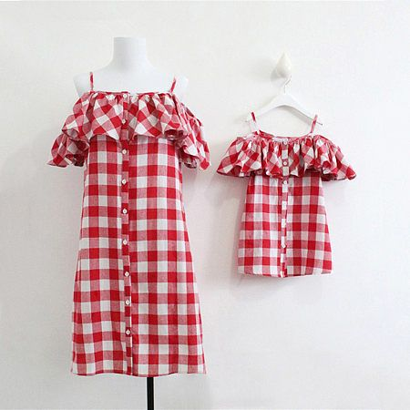 b93dddfff Buy Mom Girl Falbala Plaid Matching Dress online with cheap prices and  discover fashion Mommy & Me at Popreal.com.