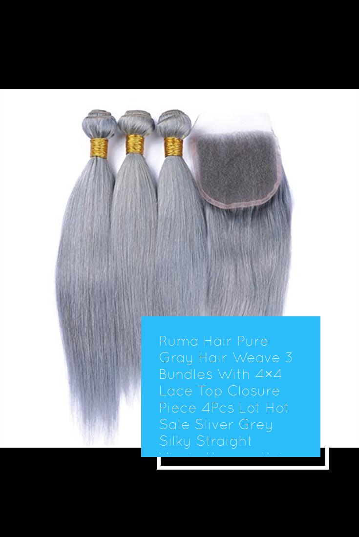 Ruma Hair Pure Gray Hair Weave 3 Bundles With 4 4 Lace Top Closure Piece 4pcs Lot Hot Sale Sliver Grey Silky Straigh Grey Hair Weave Weave Hairstyles Grey Hair