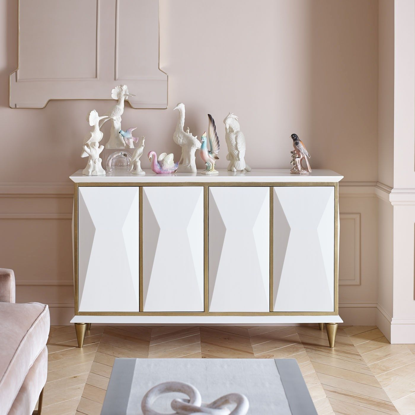 Contemporary sideboard white sideboard with geometric doors