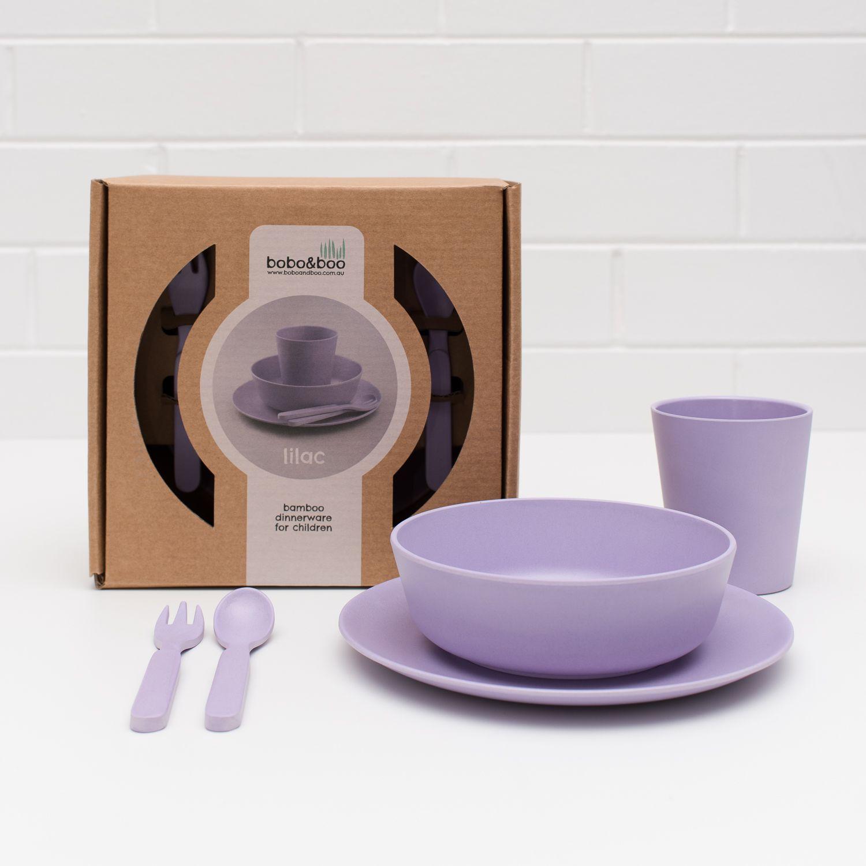 Boboboo Bamboo Dinnerware Set For Children Lilac Purple