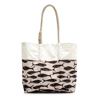 J Crew Sea Bag Style Printed Tote