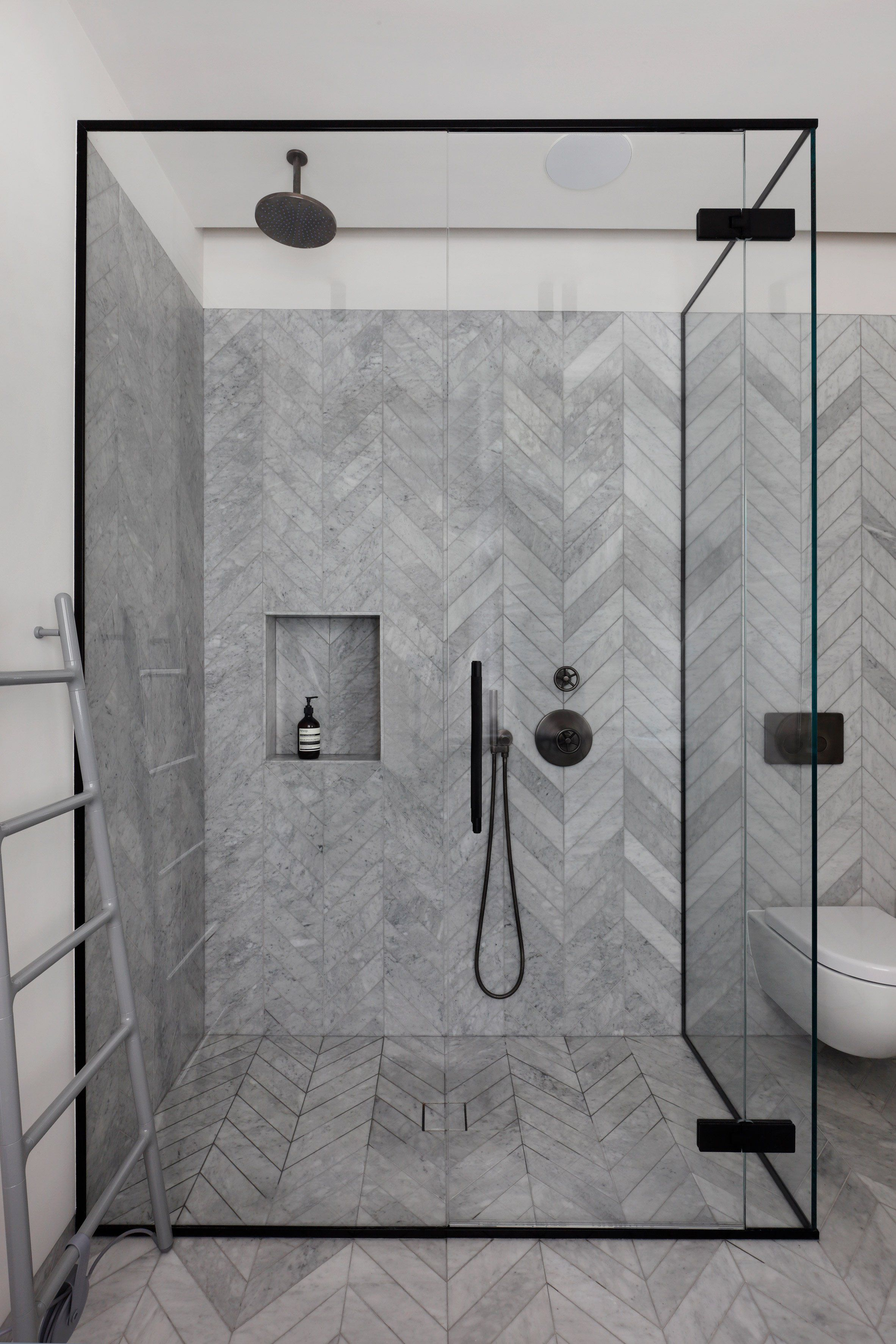 Mwai Uses Pale Grey Tones In West London Flat Renovation For Two Design Enthusiasts Bathroom Tile