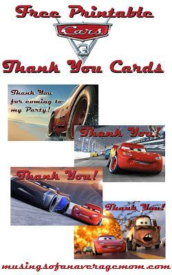 Free Printable Cars 3 Thank You Cards