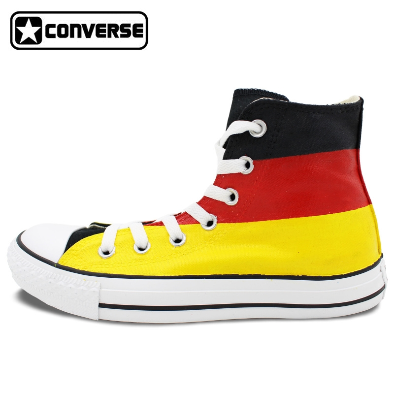 106.25$  Watch here - http://alis78.worldwells.pw/go.php?t=1725711930 - Mens Womens Converse All Star Germany Flag Original Design Hand Painted Custom High Top Man Wioman Sneakers Unique Gifts