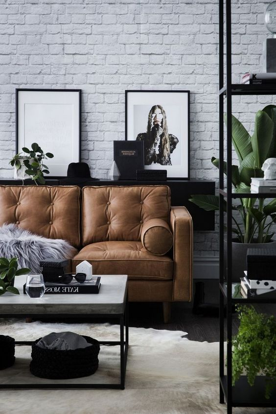 Scandinavian Living Room In Black And White With White Brick Wall In 2020 Brick Living Room Brick Wall Living Room Brown Living Room Decor
