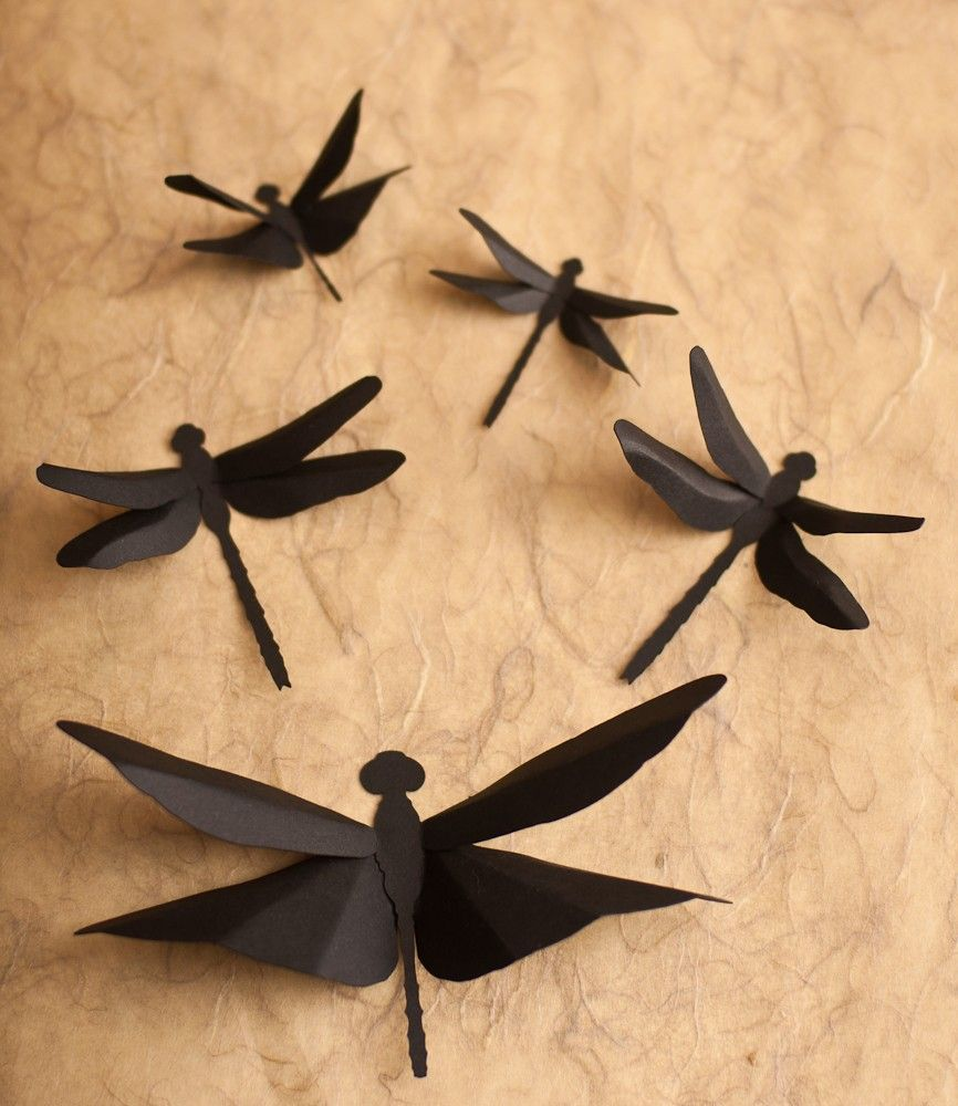 Dragonfly Wall Art: 3D Wall Dragonflies in Silhouette for Home Decor ...