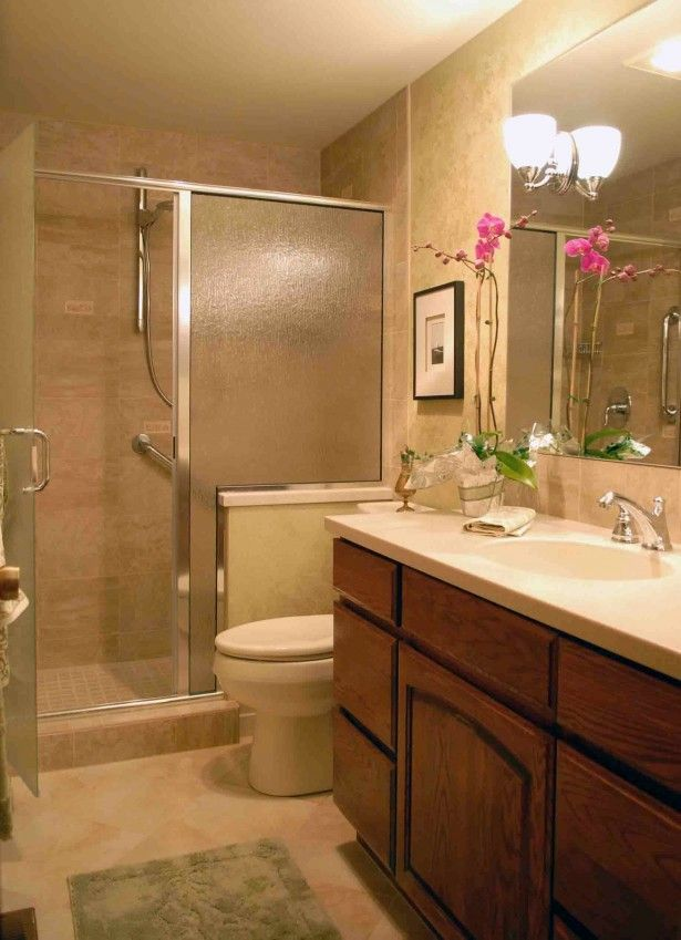 Beige tile bathroom makeover bathroom showers ideas with - Simple bathroom designs for small spaces ...