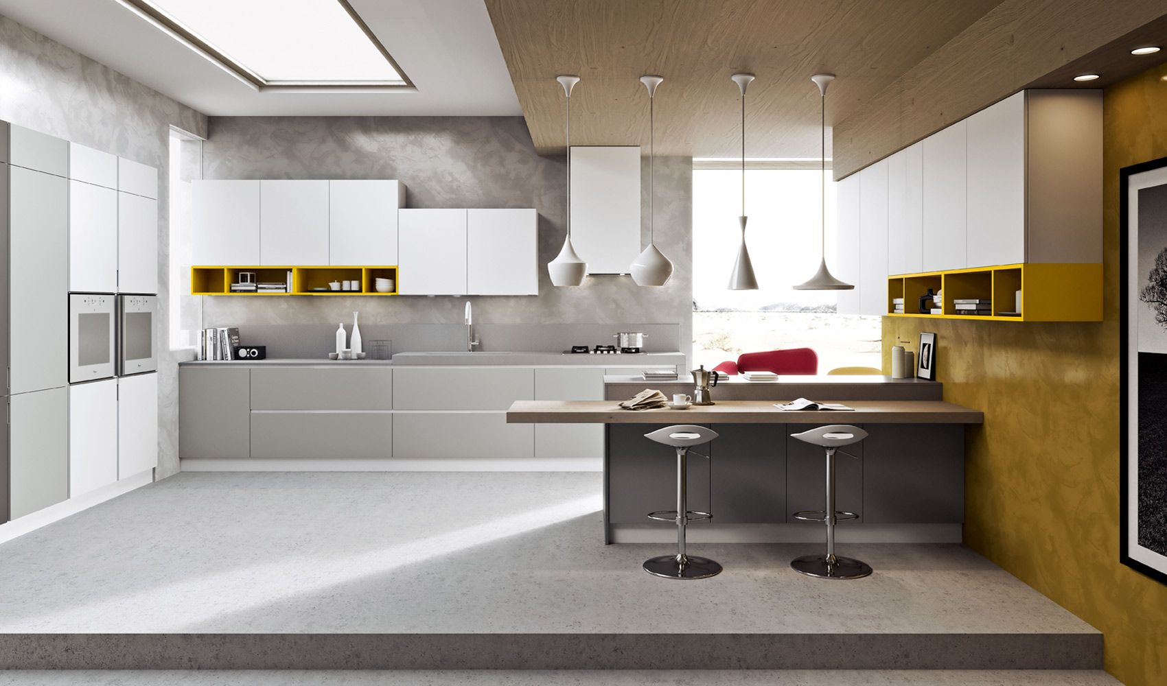 Pale Orange Kitchen suitable to apply modern kitchen designs combined with