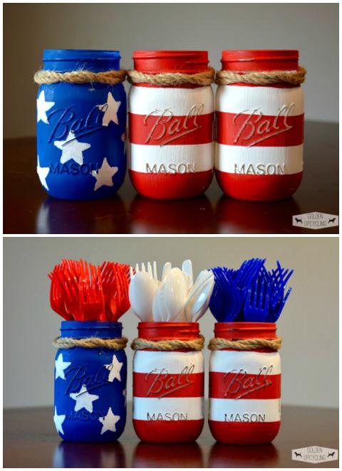 mason-jar-4th-of-july-silverware-holders-craft #masonjarcrafts
