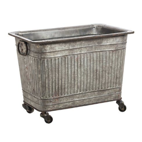 Keira Large Galvanized Metal Tub On Wheels Metal Tub Galvanized Metal Galvanized Tub