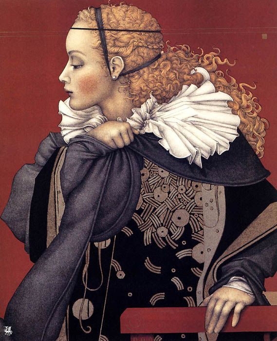 """""""Beatrice"""" 1993 stone lithograph by Michael Parkes"""