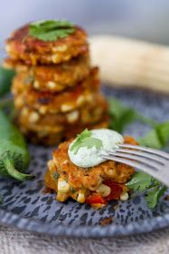 Feasting at Home- Seasonal Recipes: Jalapeño Cheddar Corn Fritters with Cilantro Cream