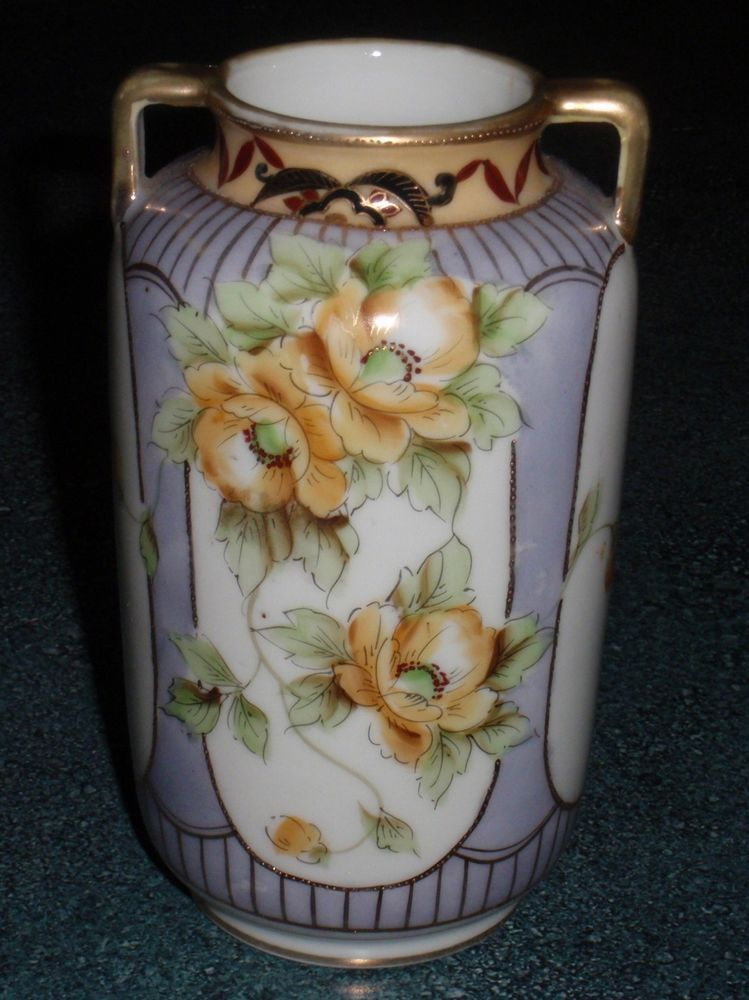 Nippon Porcelain Yellow Floral Vase Hand Painted Beading Rare