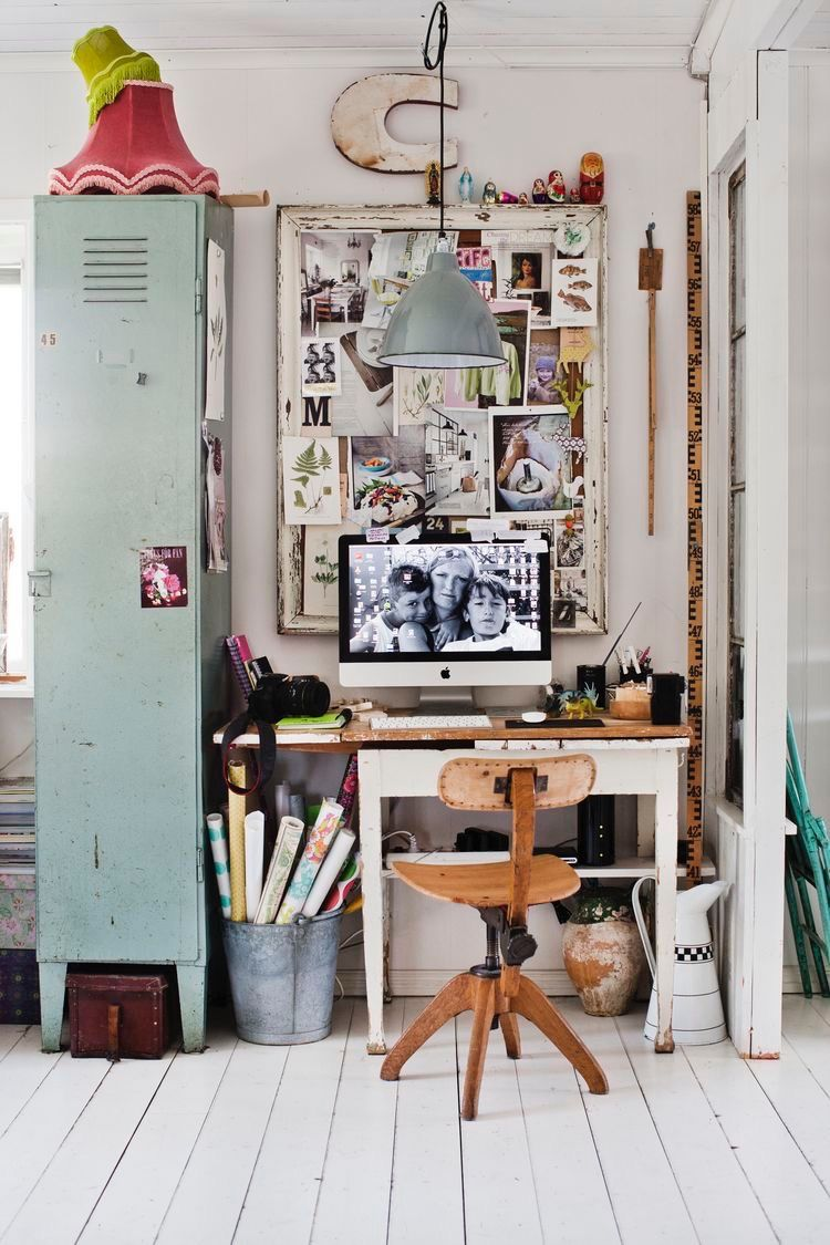 Workspace/office/study: Pale Turquoise Duck Egg Blue Locker, Vintage Wooden  Desk And Chair, Inspiration Board, Grey Industrial Pendant Lamp, ...