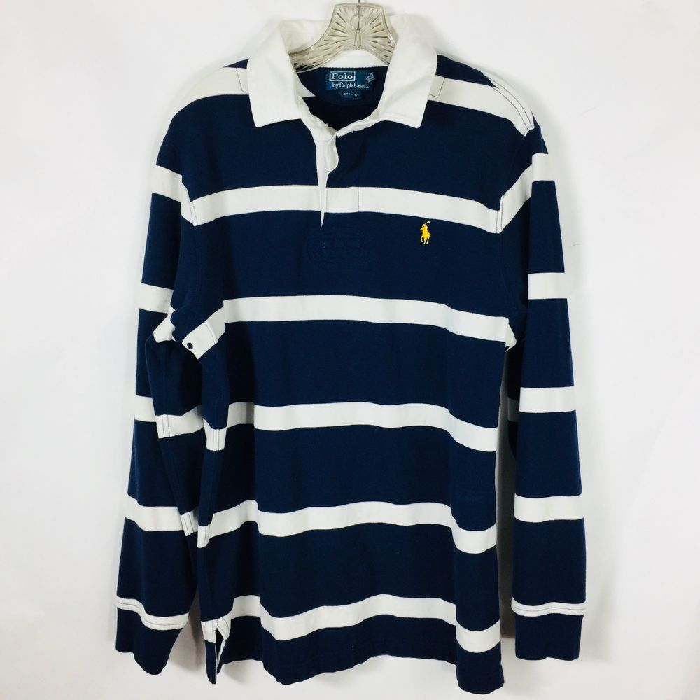 Polo Ralph Lauren Mens Large Rugby Shirt Blue White Stripe Yellow Pony L/S #