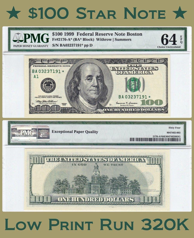 Series 1999 100 Star Note Low Print Run Of 320 000