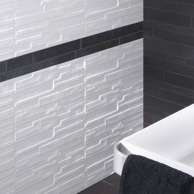 Carrelage murs CONCEPT aspect ardoise 22 x 43,5 cm - faience ardoise salle de bain