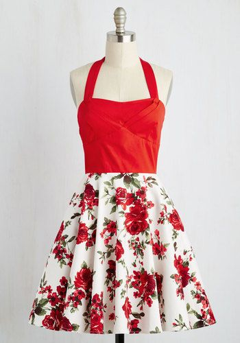 Traveling Cake Pop Truck Dress in Crimson Bouquet