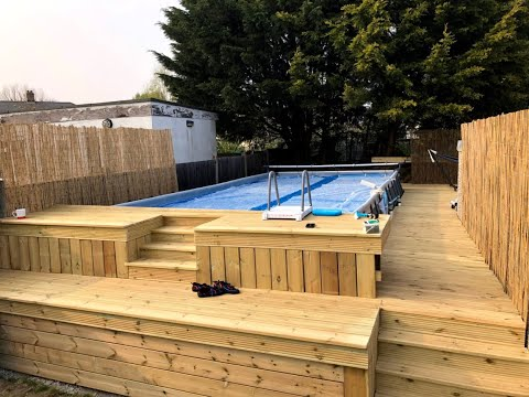 Photo Slideshow Intex 24x12 Above Ground Pool Ground Prep Construction With Decking Youtube In Ground Pools Above Ground Pool Coleman Pool