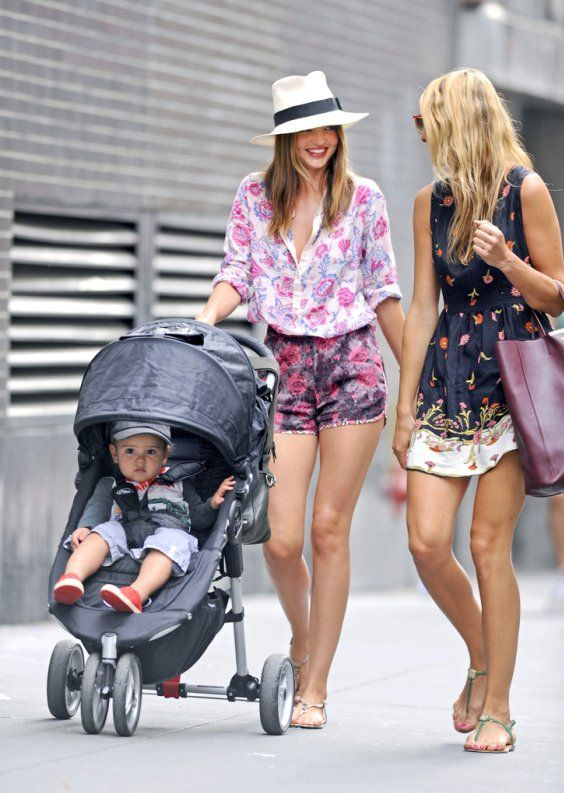 Miranda Kerr is a Stylish Mom in Floral Outfit