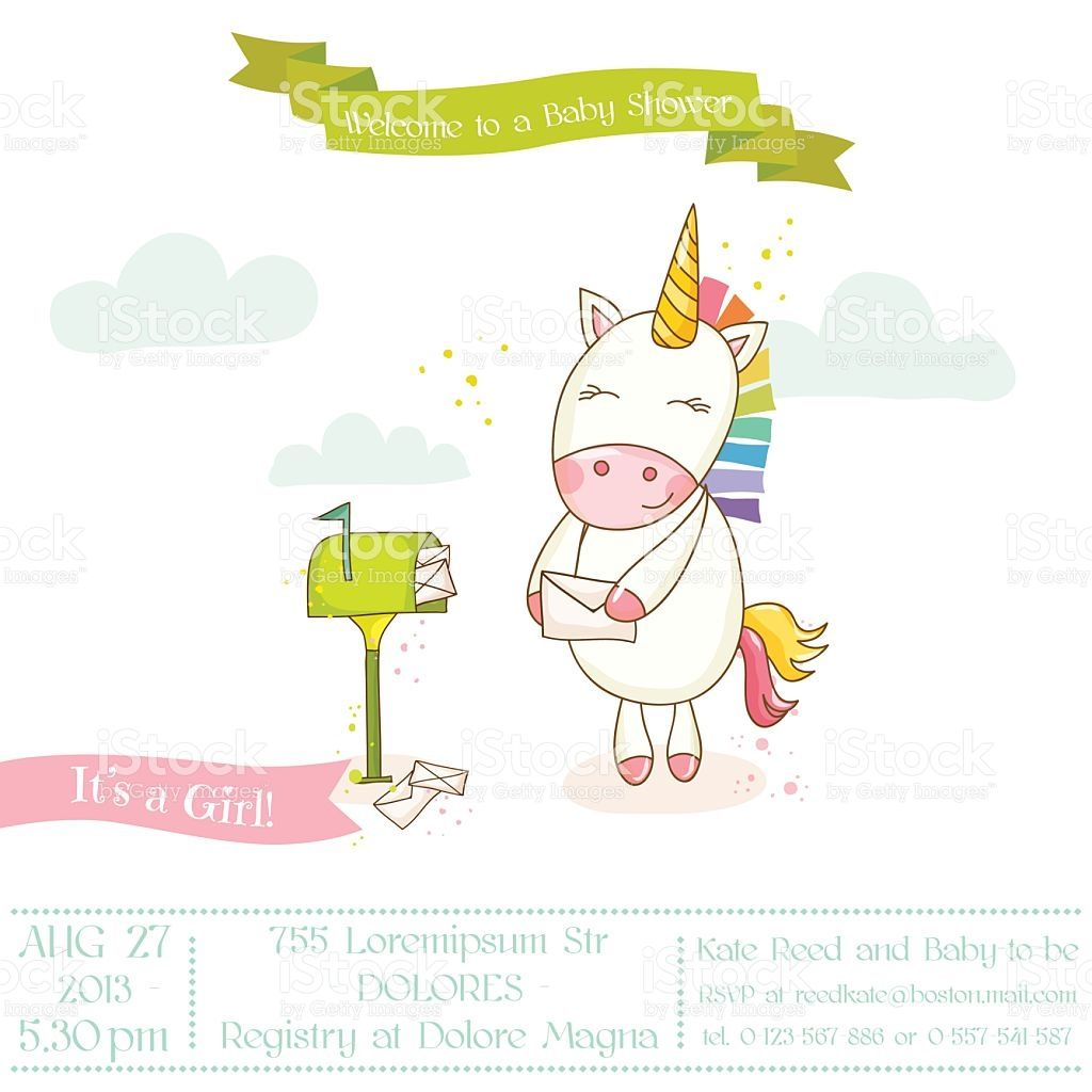 baby shower or arrival card baby unicorn girl in vector