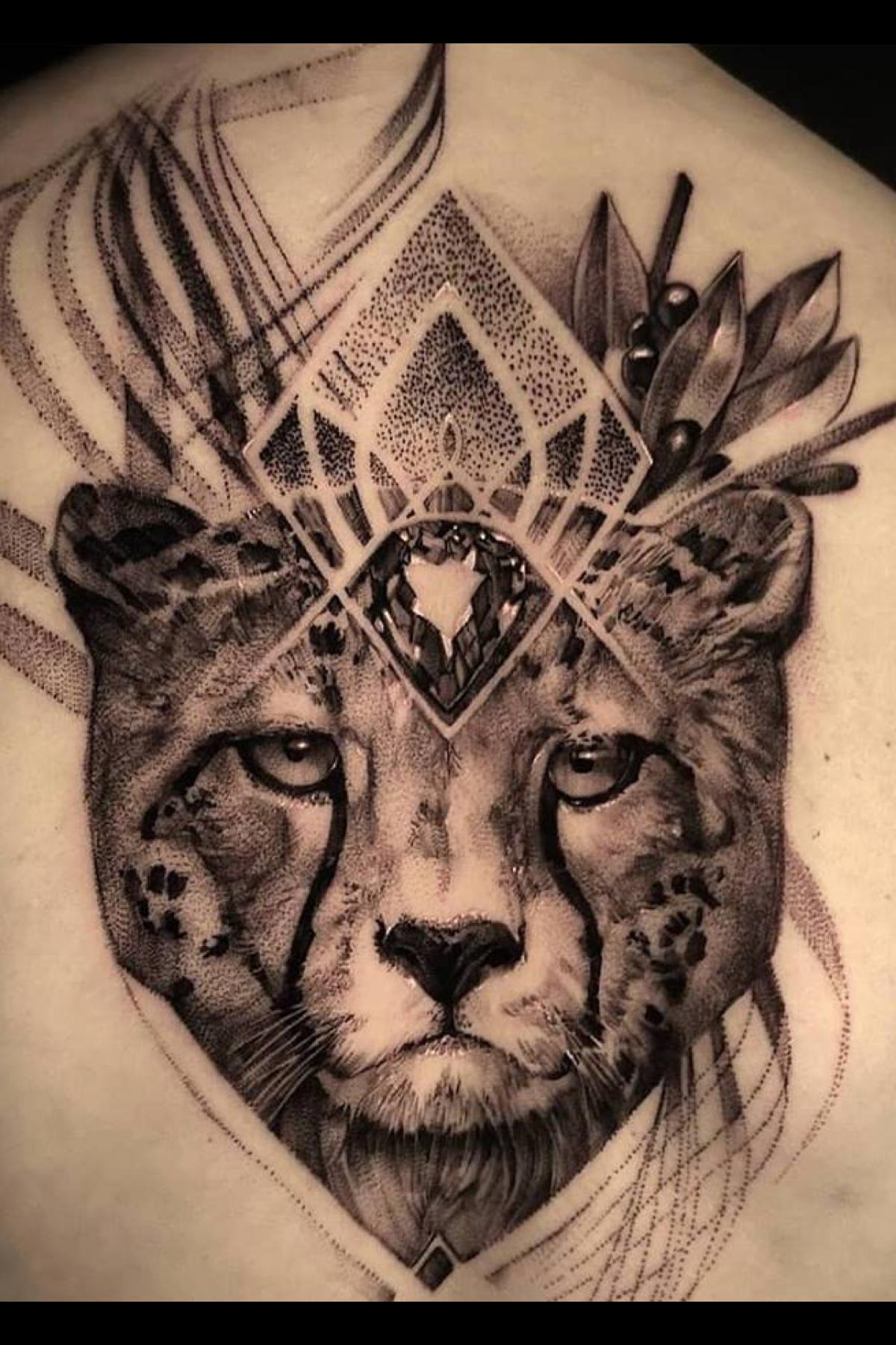 Black And Grey Big Cats Tattoo Realistic Cheetah Tattoo For Men