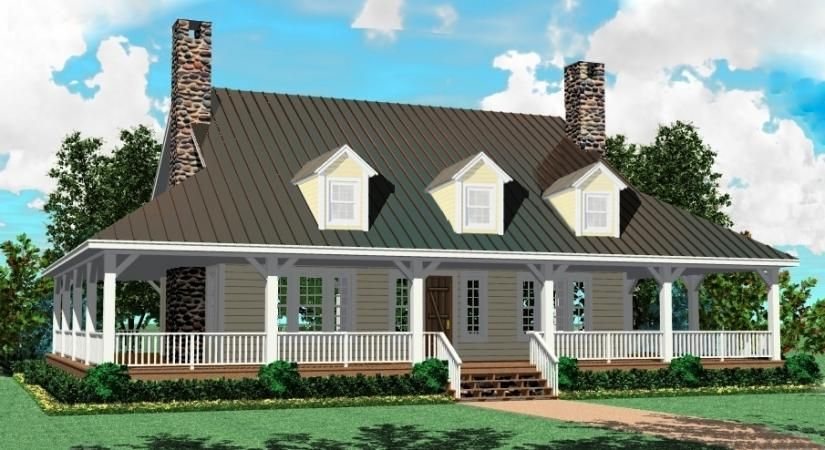 Marvelous 2 Story House With A Porch Story 3 Bedroom 2 5 Bath Country   Farmhouse Home