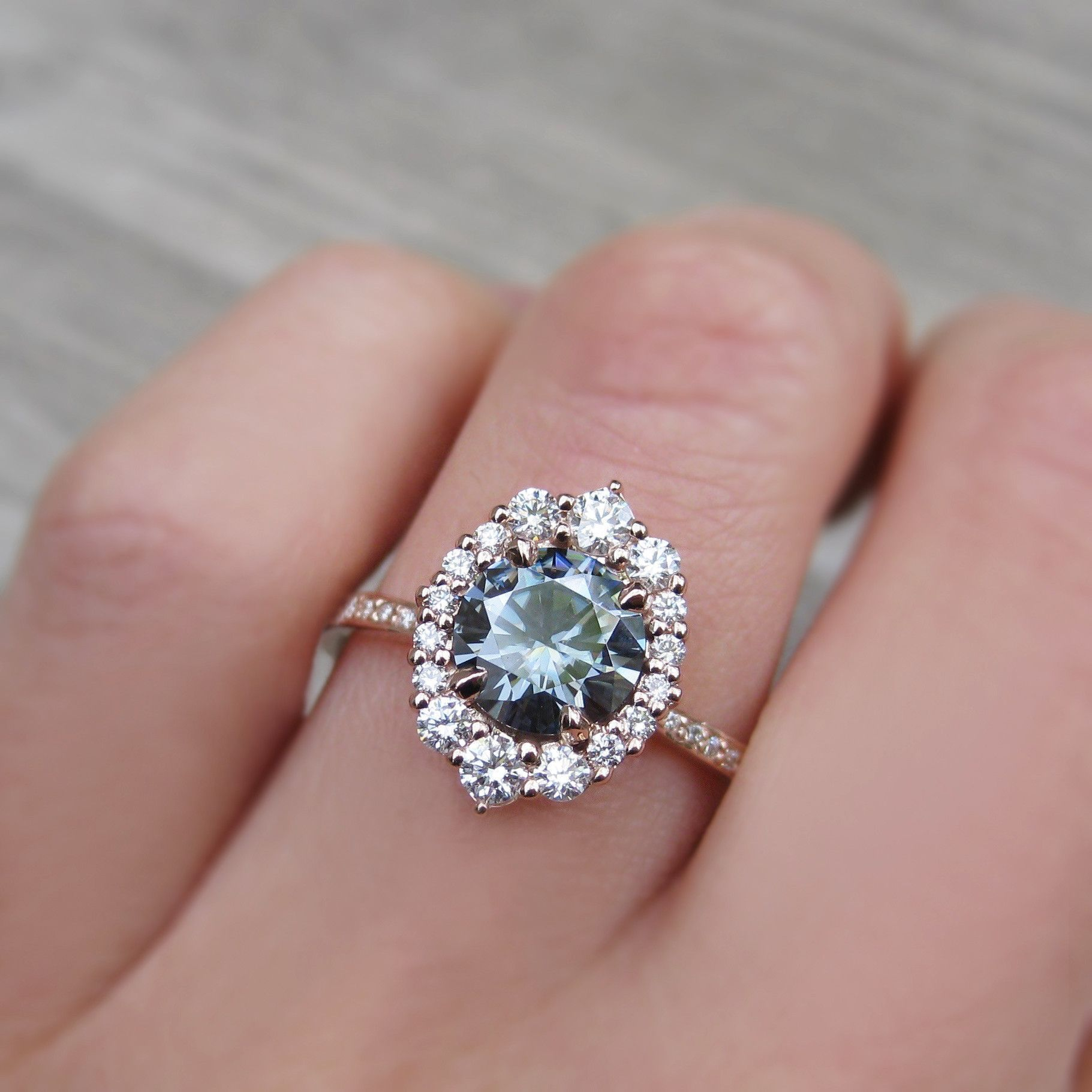Grey Moissanite Engagement Ring with Diamond Halo + Pavé Band (1.70 ...