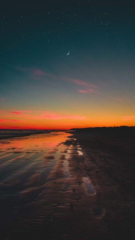 Twilight Moon Beach Starry Sky Iphone Wallpaper Iphone Wallpaper