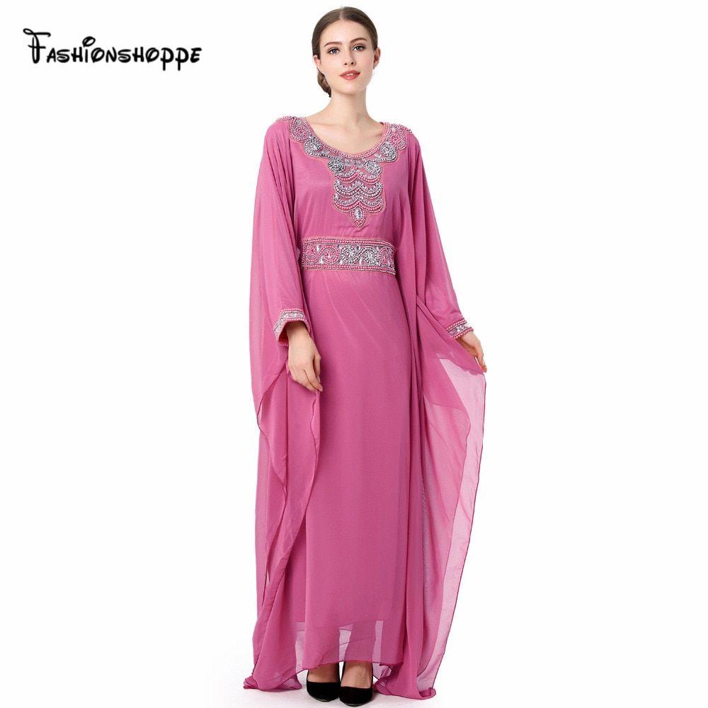 805132488 Mulheres Bordados manga comprida muçulmano vestido árabe turco vestido de  Dubai Kaftan marroquino jalabiya Abaya Islâmico