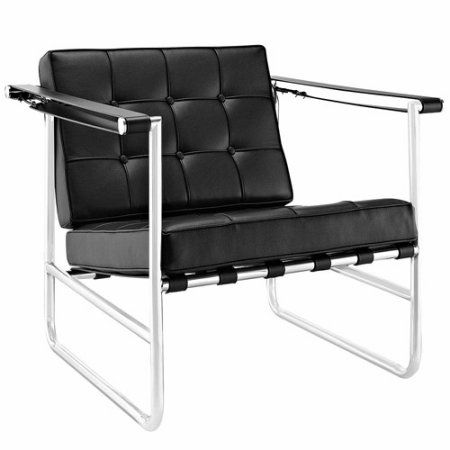 Modway Serene Stainless Steel Lounge Chair, Multiple Colors, Black