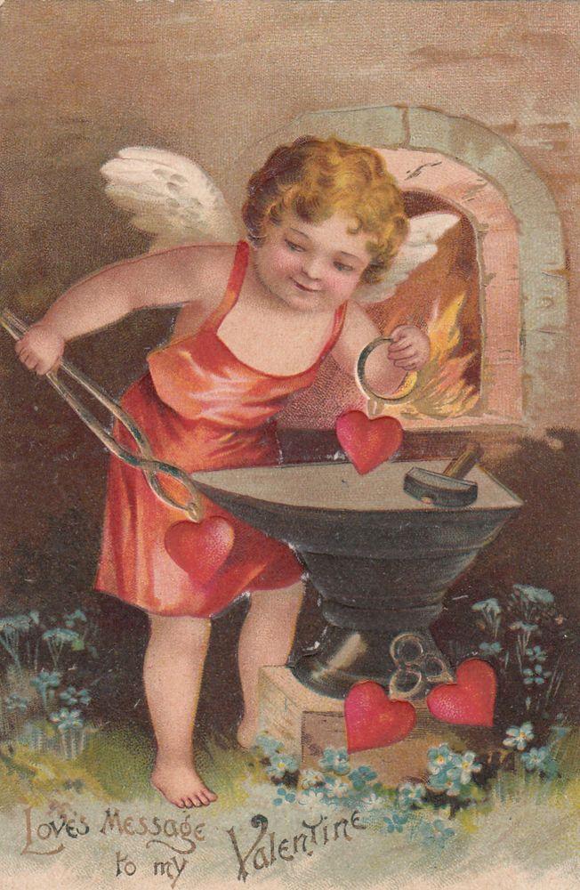 Vintage Valentines Postcard Cupid at Forge Anvil Hearts in Holidays | eBay