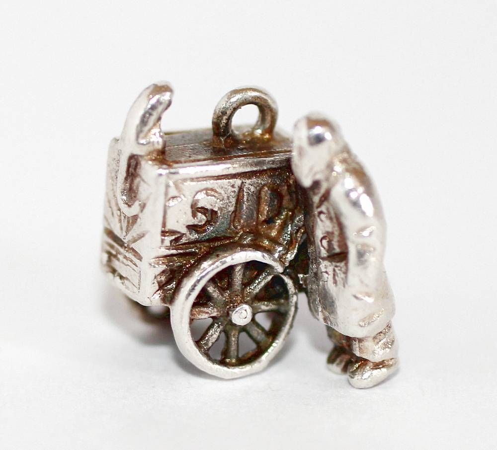 Vintage Organ Grinder Man & Monkey Sterling Silver Charm c1960's ~ vintagecrownjewels
