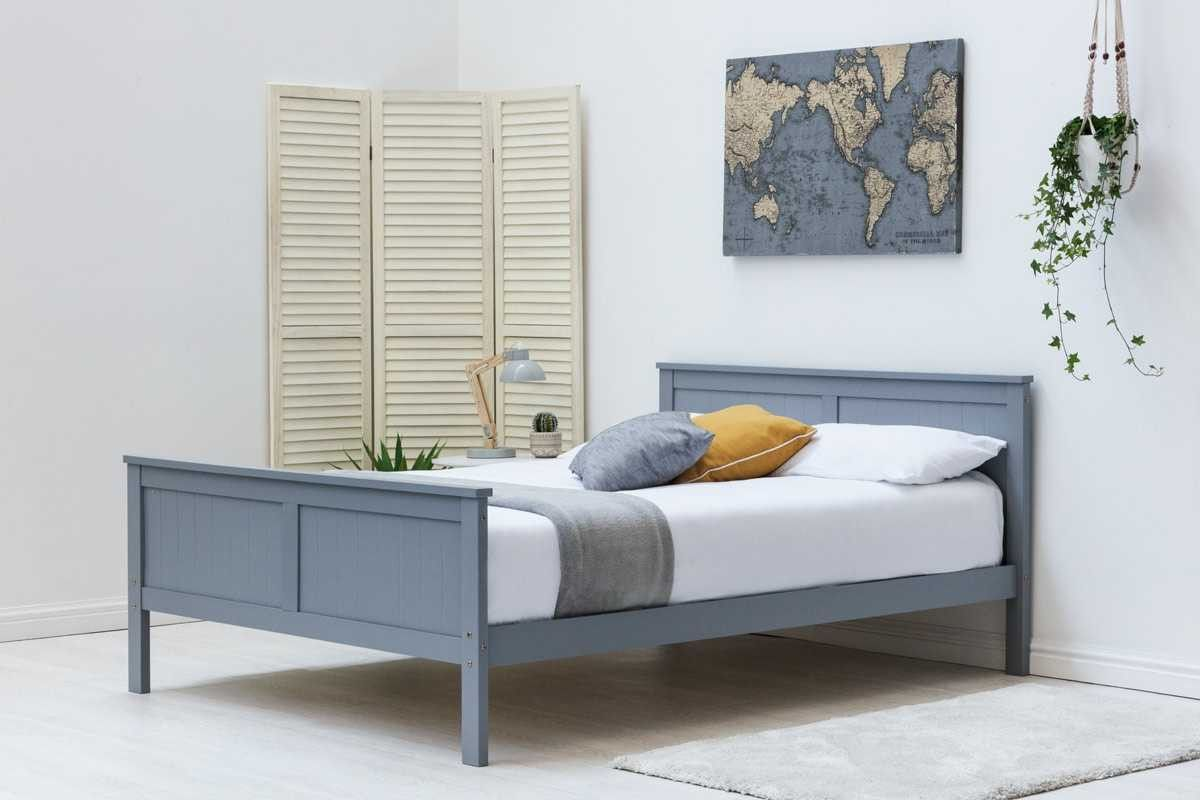 Tabley White Solid Wooden Shaker Style Bed Frame Wooden Bed