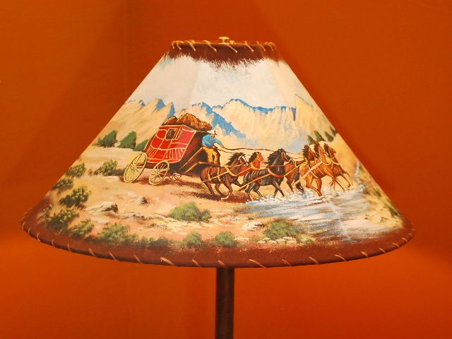 Leather And Rawhide Trim Lamp Shade Western Theme With
