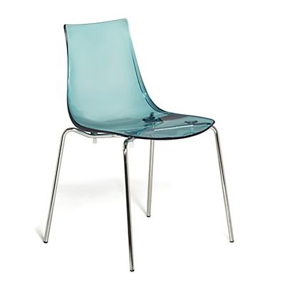 chaise empilable transparente bleue