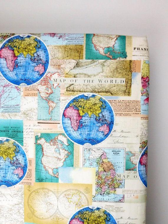Go Hello World: Map Crib Sheet, Travel Nursery, Hello World Crib Bedding